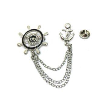 Chain Enamel Anchor Lapel Pin