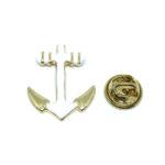 White Enamel Anchor Lapel Pin