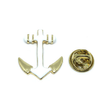 White Enamel Anchor Lapel Pin