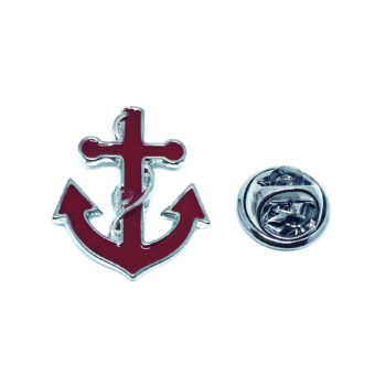 Red Enamel Anchor Lapel Pin