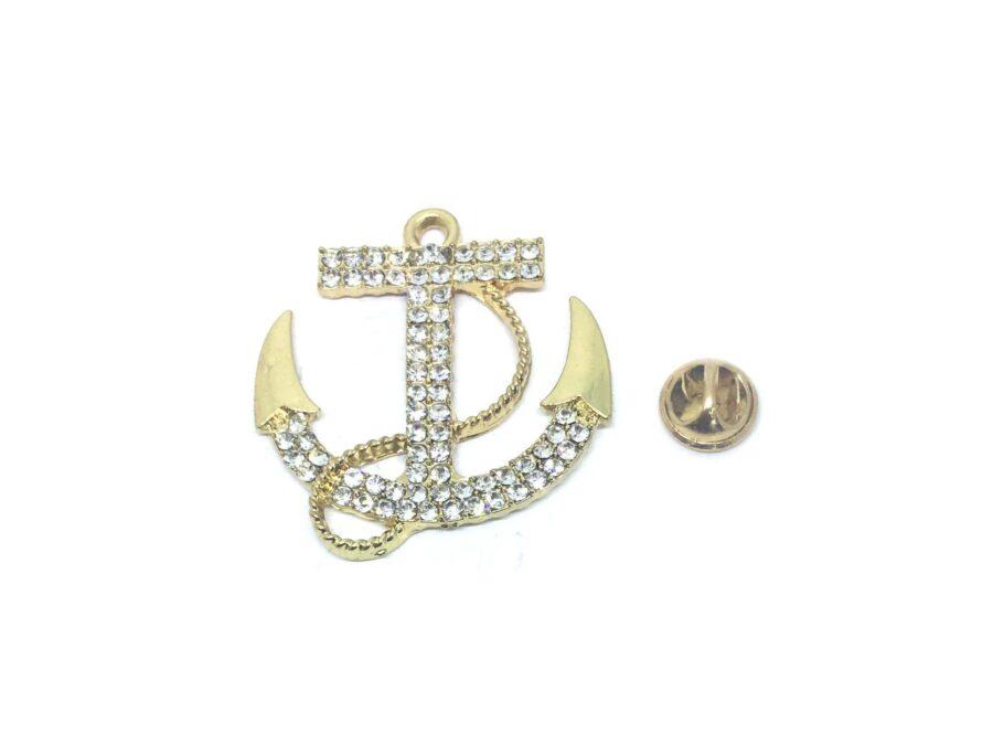 Crystal Anchor Lapel Pin