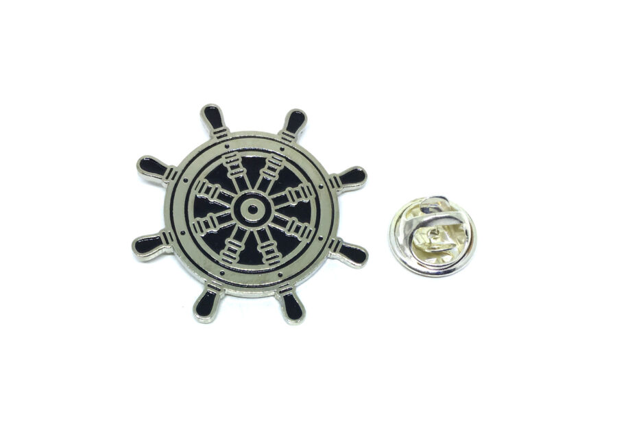 Black Enamel Nautical Anchor Lapel Pin