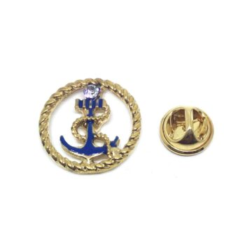 Blue Enamel Anchor Lapel Pin