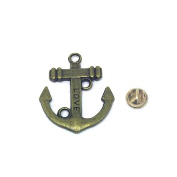 Bronze Love Anchor Lapel Pin