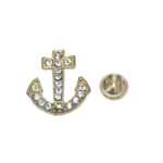 Gold plated Crystal Anchor Lapel Pin