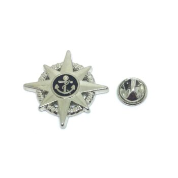 Black Enamel Anchor Lapel Pin