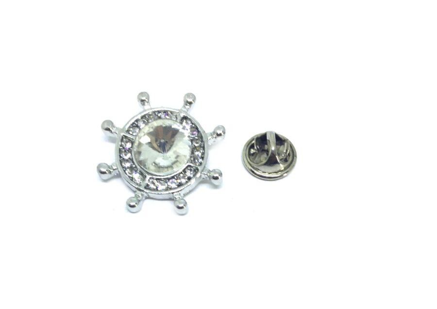 Crystal Nautical Anchor Lapel Pin