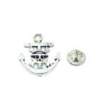 Silver plated Skull Anchor Lapel Pin