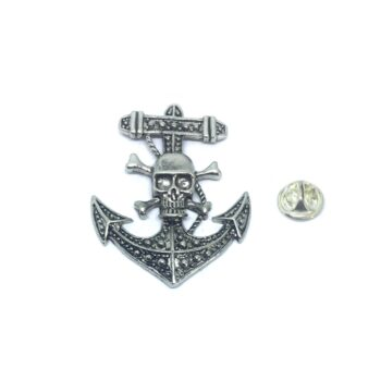 Oxidize Skull Anchor Lapel Pin