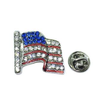 Crystal American Flag Pin