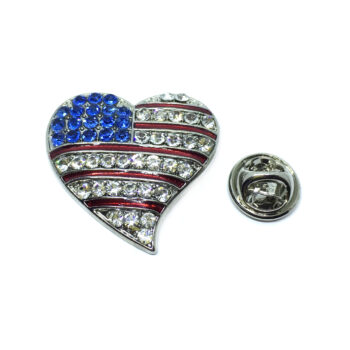 Crystal Heart American Flag Pin