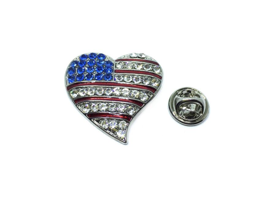 Crystal Heart American Flag Pin