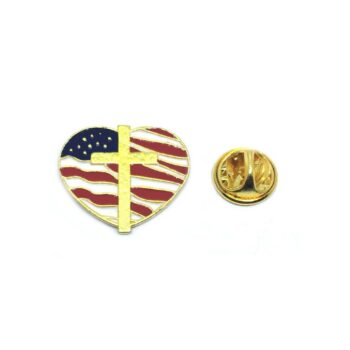 Cross Heart shape American Flag Pin