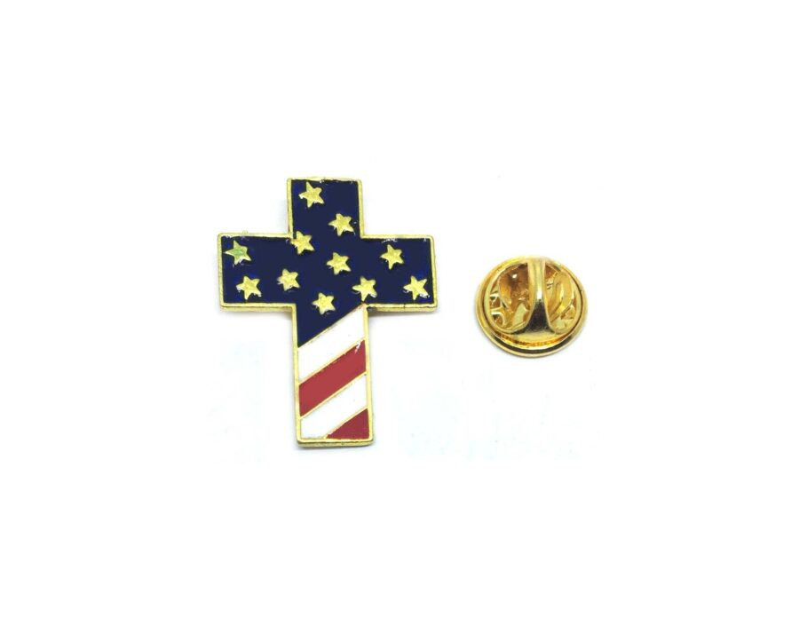 Gold plated Cross American Flag Pin