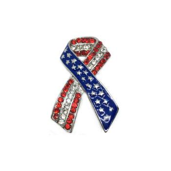 Awareness Crystal Enamel American Flag Brooch Pin