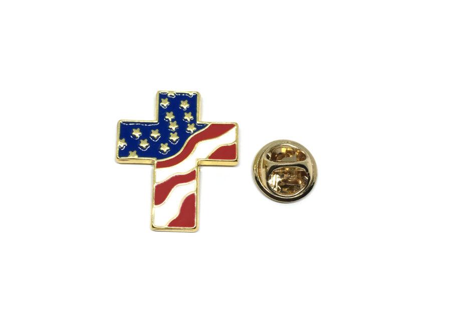 Cross American Flag Lapel Pin