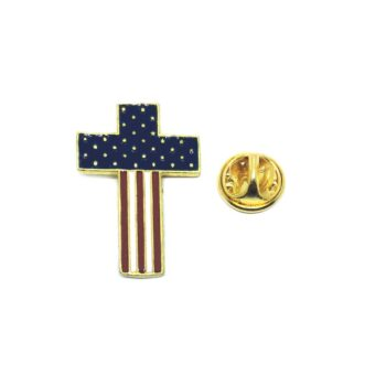 Gold plated Cross American Flag Lapel Pin
