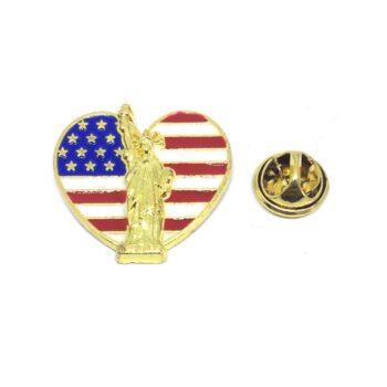 """Statue of Liberty"" American Flag Lapel Pin"