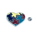 Silver plated Enamel Autism Pin