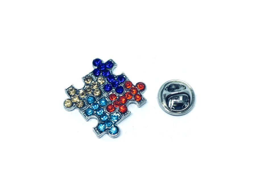 Multi-color Crystal Autism Lapel Pin