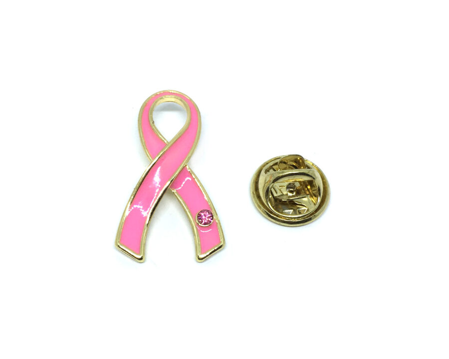 Gold plated Pink Enamel Awareness Pin