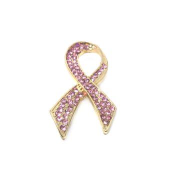 Pink Crystal Awareness Ribbon Brooch Pin