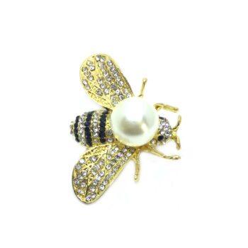 Crystal & Pearl Bee Brooch Pin