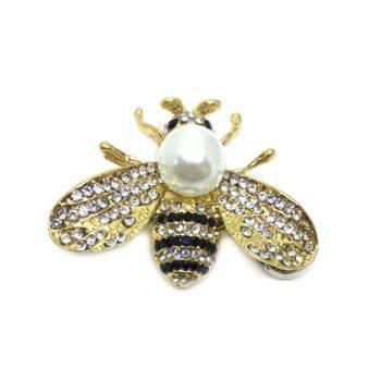 Pearl & Crystal Bee Brooch Pin