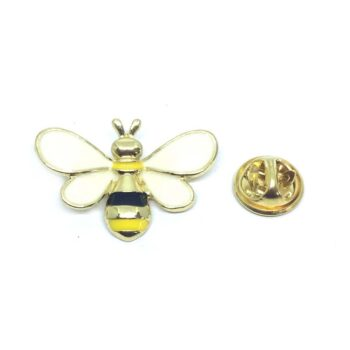 White Enamel Bee Lapel Pin