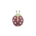 Red Enamel Bee Brooch Pin
