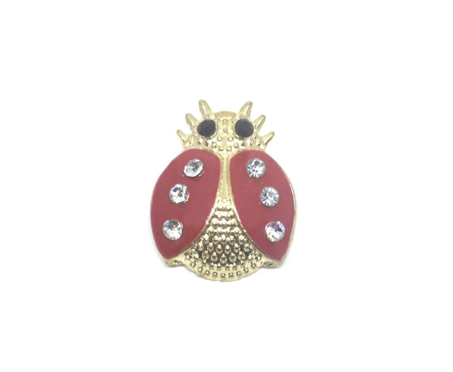 Gold Plated Red Enamel Bee Pin