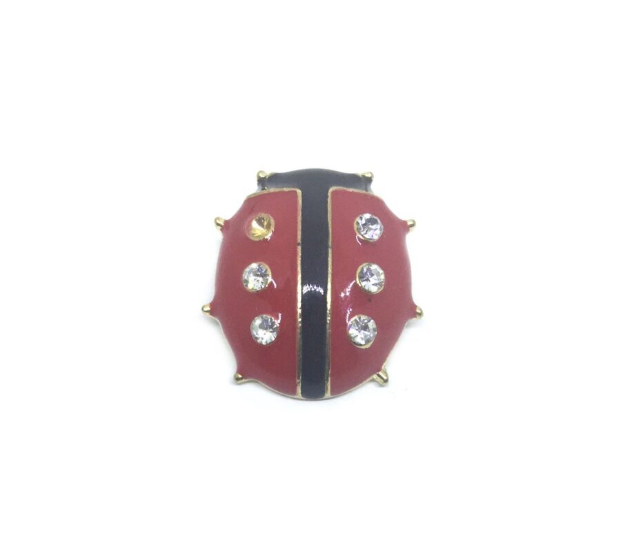 Red & Black Enamel Bee Brooch Pin