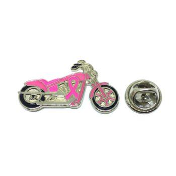 Pink Enamel Biker Lapel Pin