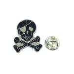 Black Enamel Skull Biker Lapel Pin