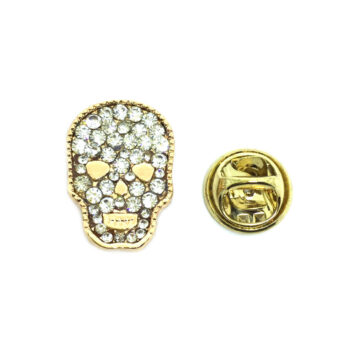 Crystal Skull Biker Lapel Pin