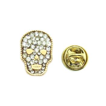 Crystal Skull Biker Lapel Pin