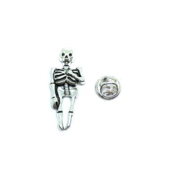 Silver plated Skull Biker Lapel Pin