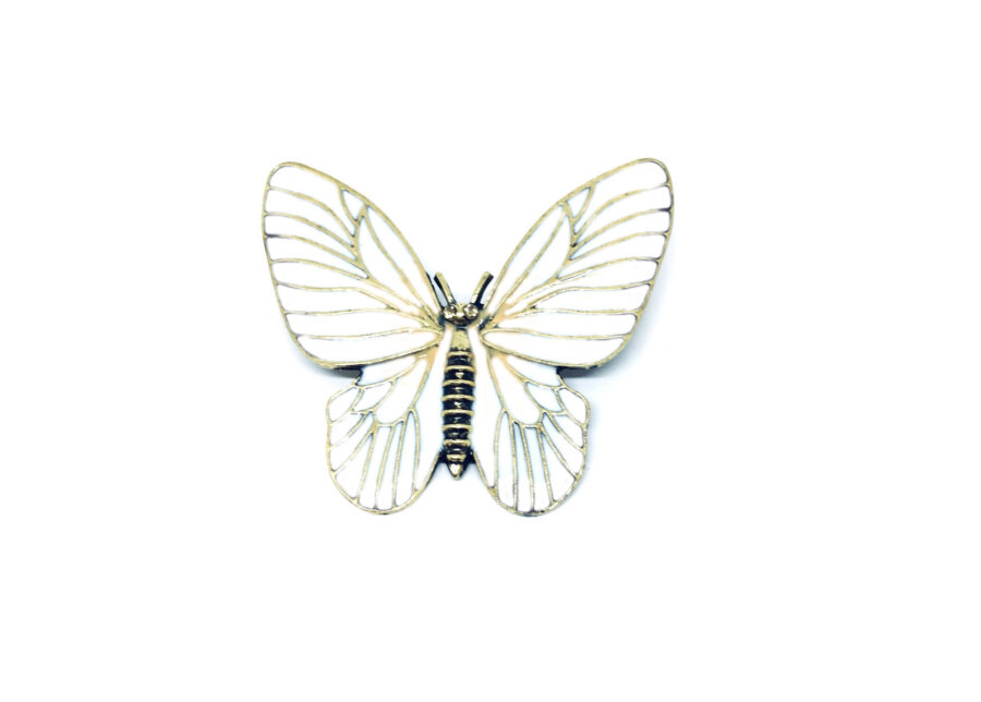 White Enamel Butterfly Brooch