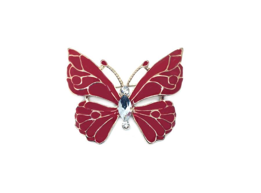 Red Enamel Butterfly Brooch