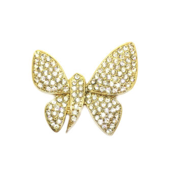 Gold plated Crystal Butterfly Brooch
