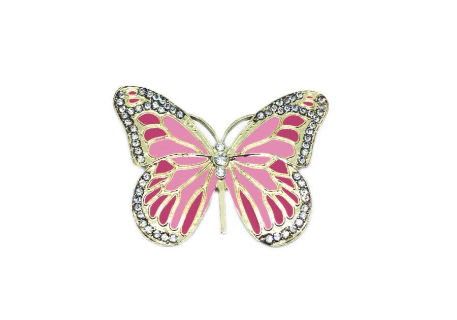 Pink & Red Enamel Butterfly Brooch