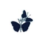 Black Enamel Double Butterfly Brooch