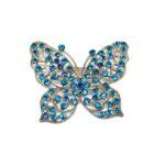 Blue Crystal Butterfly Brooch