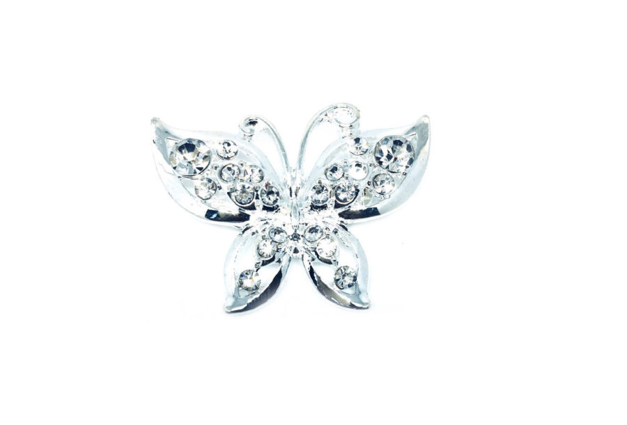 Silver plated Crystal Butterfly Brooch