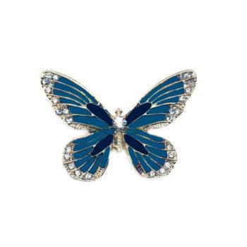Crystal Blue Enamel Butterfly Brooch