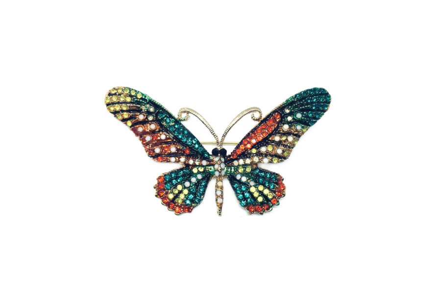 Multi-color Crystal Butterfly Brooch