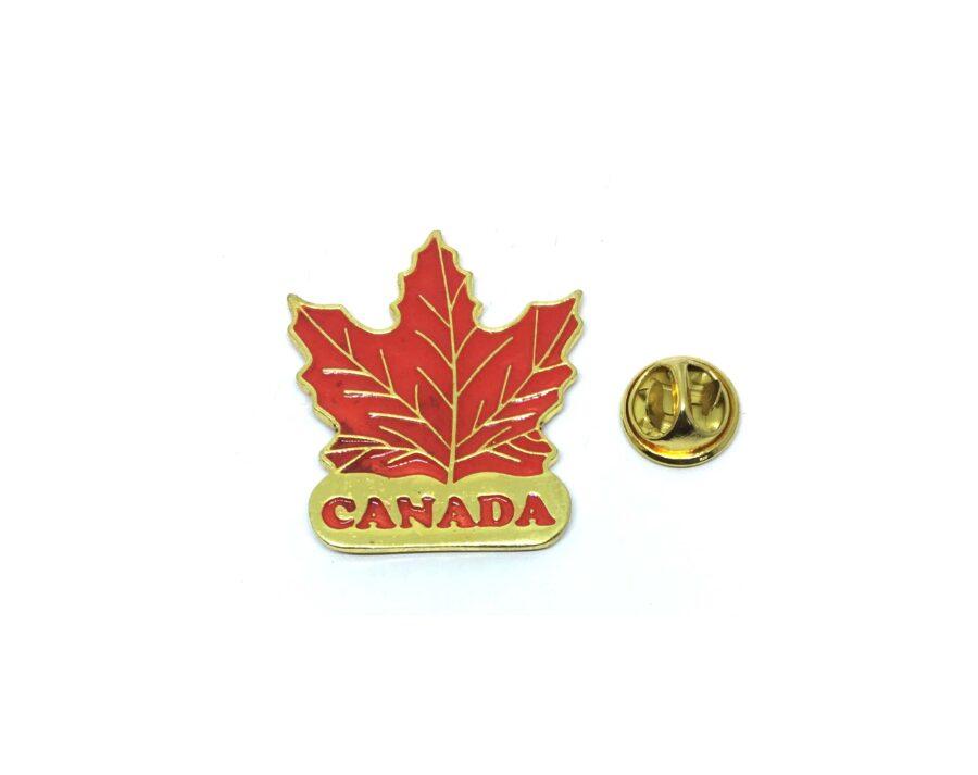 Red Enamel Canada Leaf Lapel Pin