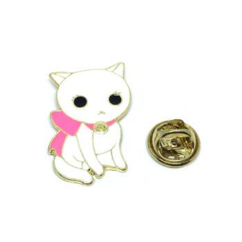 Pink & White Enamel Cat Lapel Pin