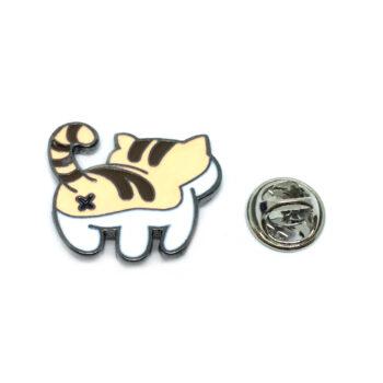 Yellow & White Enamel Cat Lapel Pin
