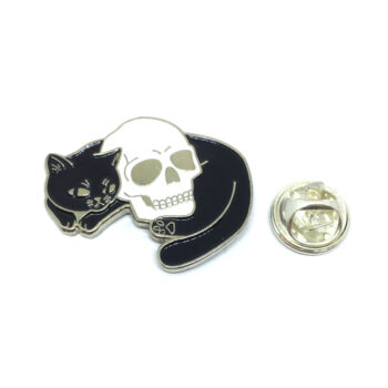 Black Enamel Cat with Skull Lapel Pin